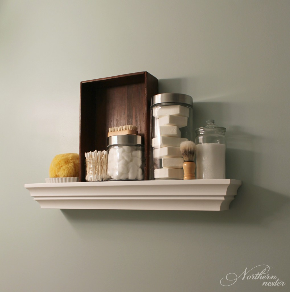 bathroom decorated shelf