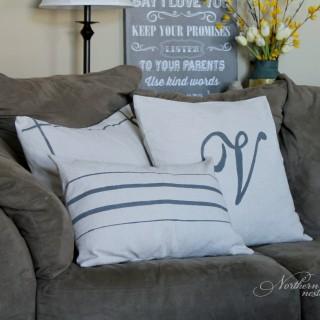 Drop Cloth Grain Sack Pillows