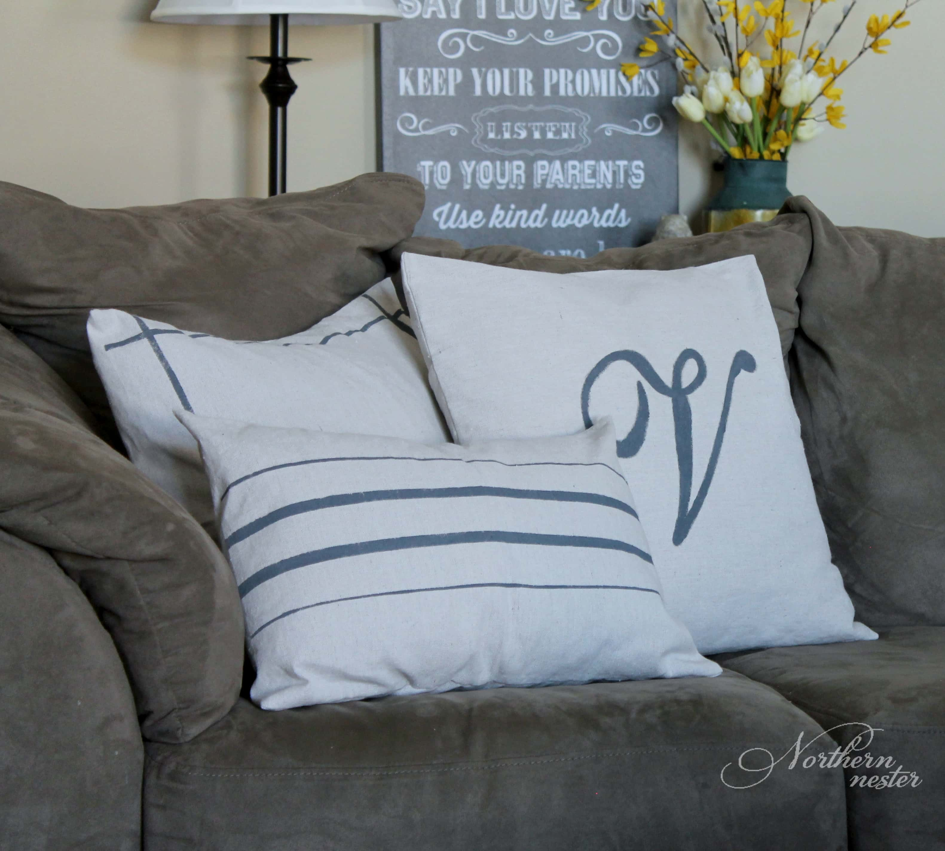 Drop Cloth Grain Sack Pillows Northern Nester