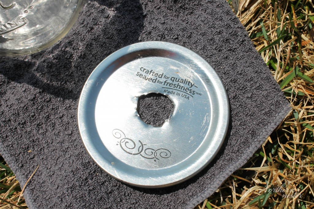 mason jar lid with hole