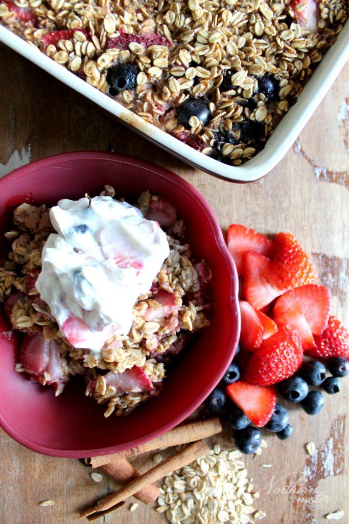 Berry Oatmeal Bake With Fruity Yogurt Topping THM E 2