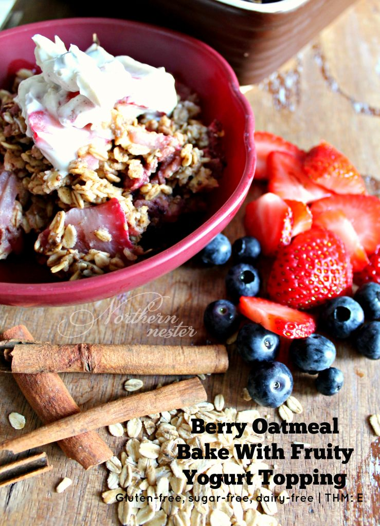 Berry Oatmeal Bake With Fruity Yogurt Topping THM E 5
