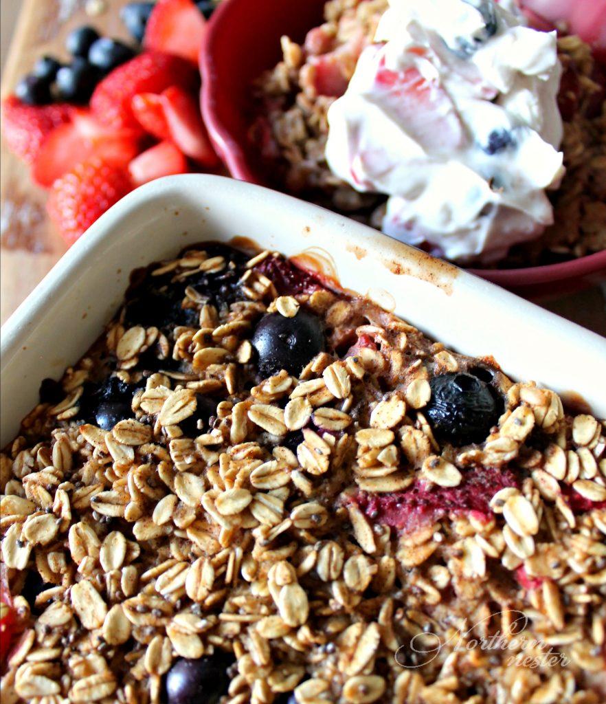 Berry Oatmeal Bake With Fruity Yogurt Topping THM E 8