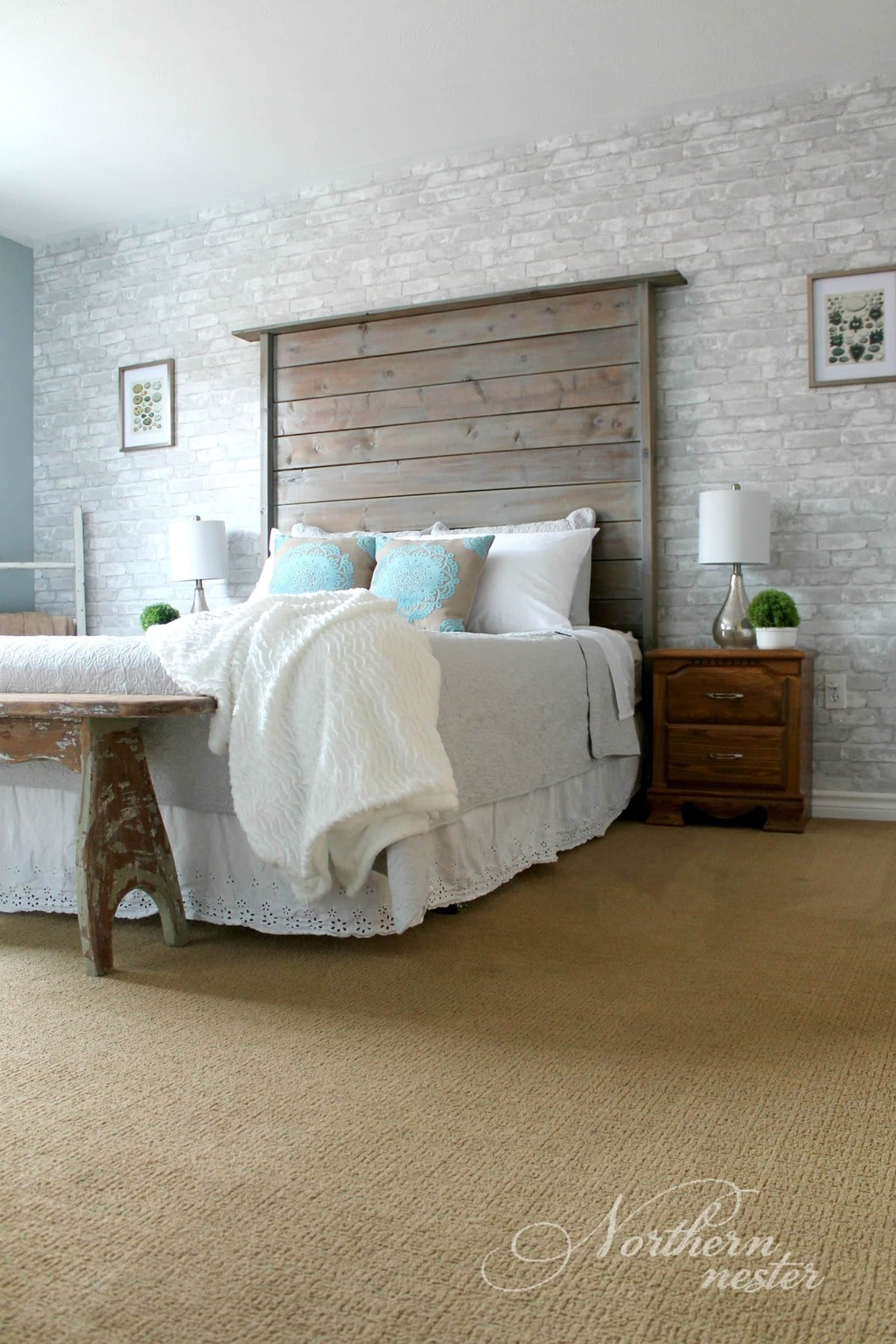 Neutral farmhouse master bedroom makeover before after for Farmhouse master bedroom