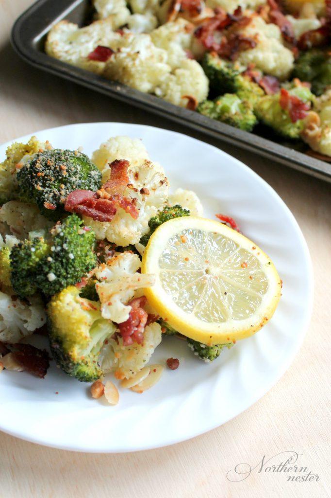 Roasted Broccoli & Cauliflower with Parmesan & Bacon