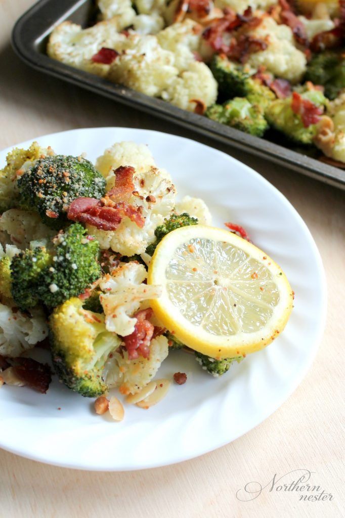 roasted-broccoli-cauliflower-with-parmesan-bacon