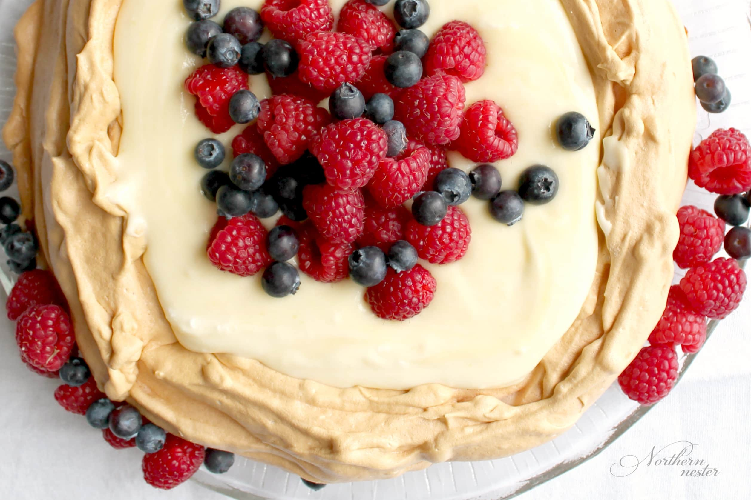 Pavlova with Lemon Curd & Berries |  THM: S