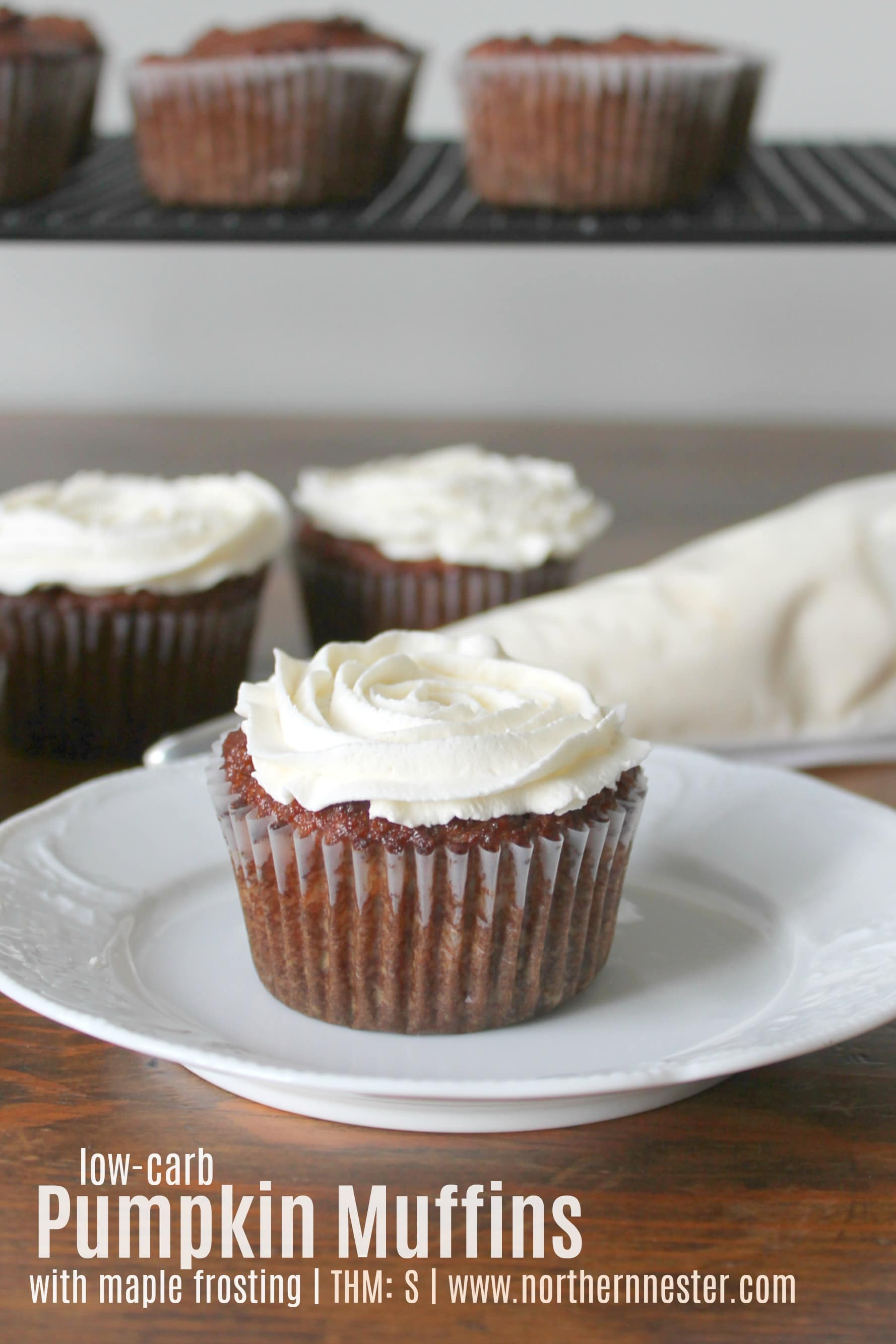low carb pumpkin muffins with maple frosting thm s northern nester. Black Bedroom Furniture Sets. Home Design Ideas