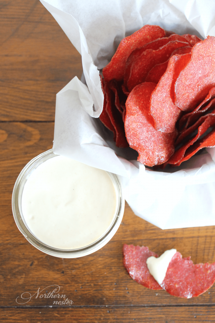 Salami Chips with Sweet Mustard Dip | THM: S
