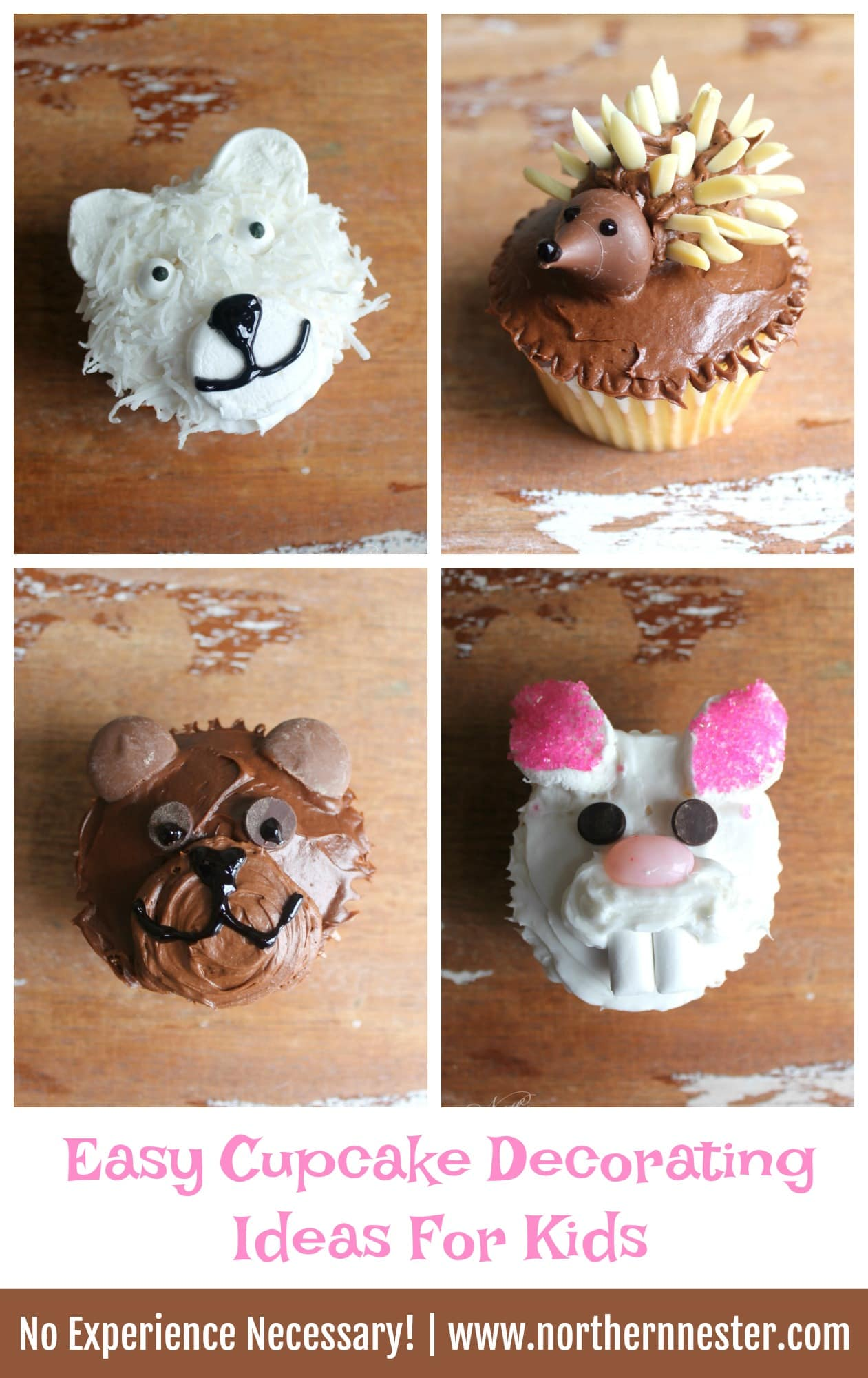 ... Brown Bear Cupcakes could easily be made that way with on-plan chocolate frosting and melted dark chocolate in place of the decorating gel!) ... & Easy Cupcake Decorating Ideas For Kids - Northern Nester