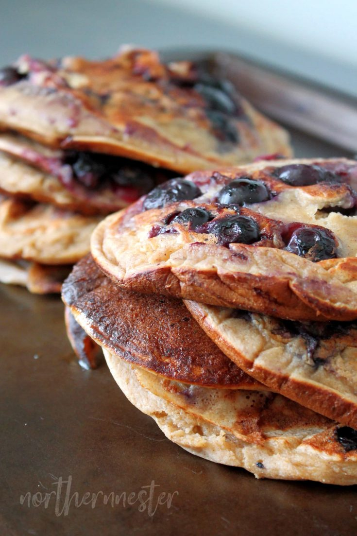 Banana Blueberry Pancakes | THM: E, GF, Low Fat