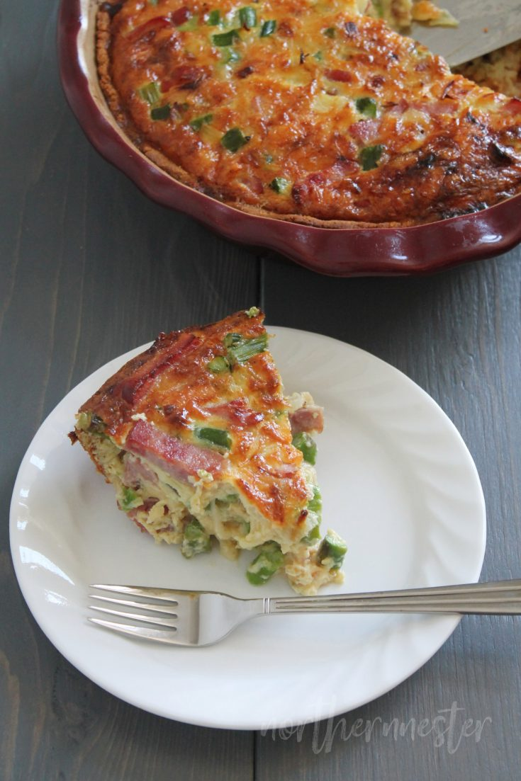 Ham, Swiss Cheese, and Asparagus Quiche | THM: S, Keto, GF