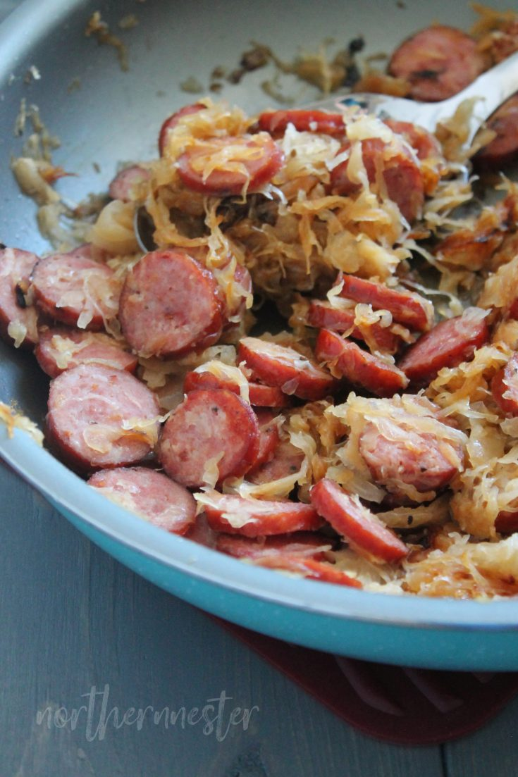 10 Minute Sausage & Sauerkraut Skillet | THM: S, GF, DF option