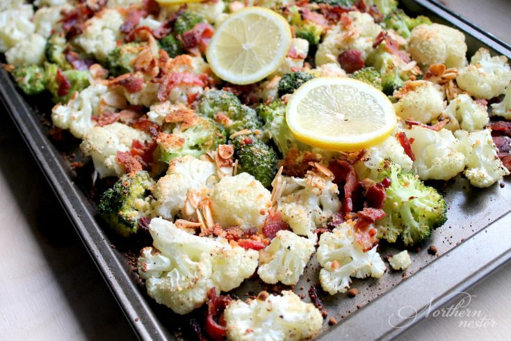 Roasted Broccoli & Cauliflower with Parmesan & Bacon