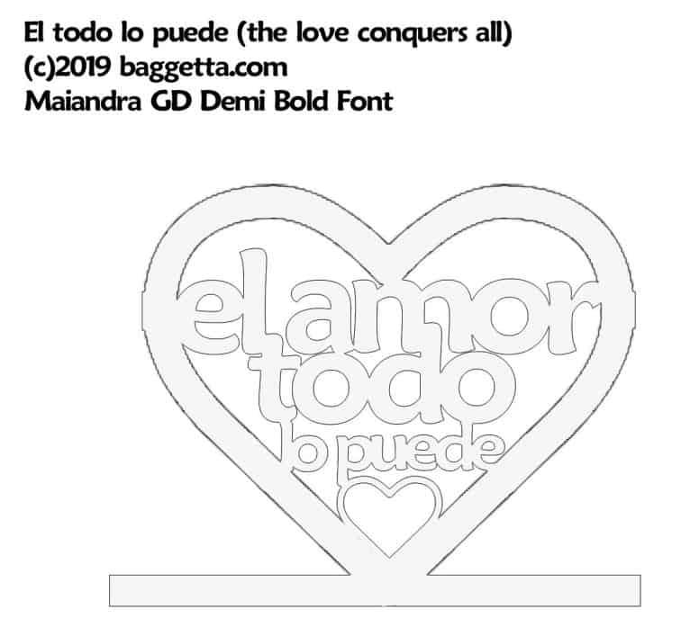 EL AMOR TODO LO PUEDE (LOVE CONQUERS ALL) TABLE SIGN PATTERN