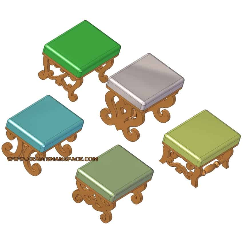 FOOTSTOOL WITH SCROLL SAW LEGS PLAN