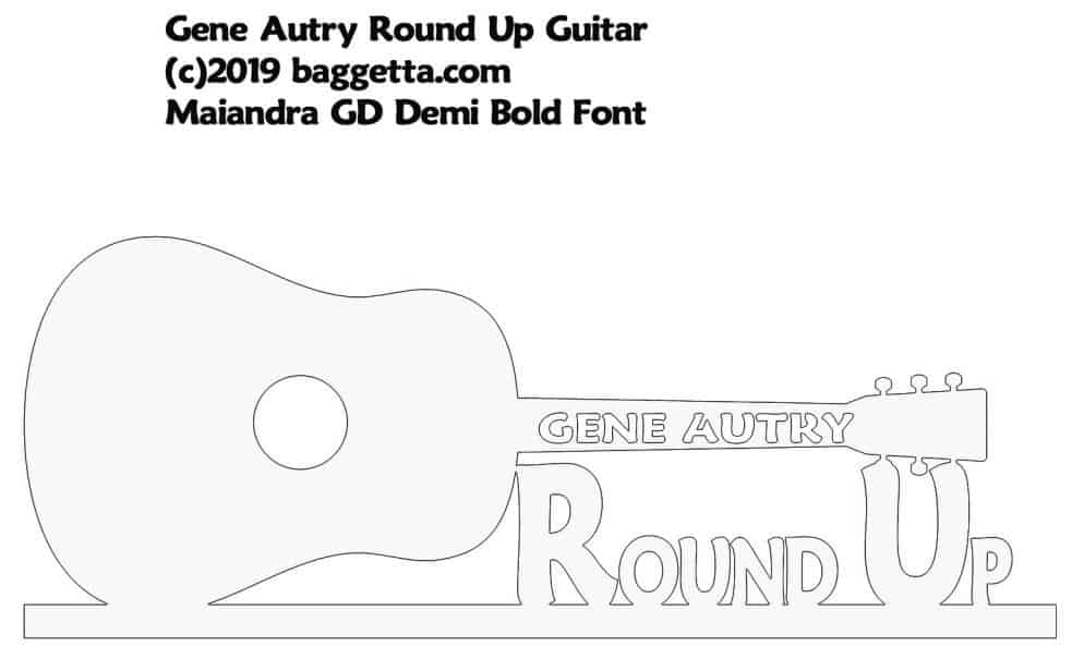 GENE AUTRY ROUND-UP GUITAR TABLE SIGN PATTERN
