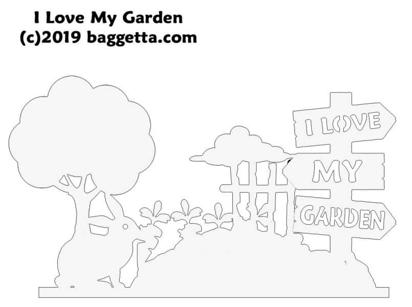 I LOVE MY GARDEN TABLE SIGN PATTERN