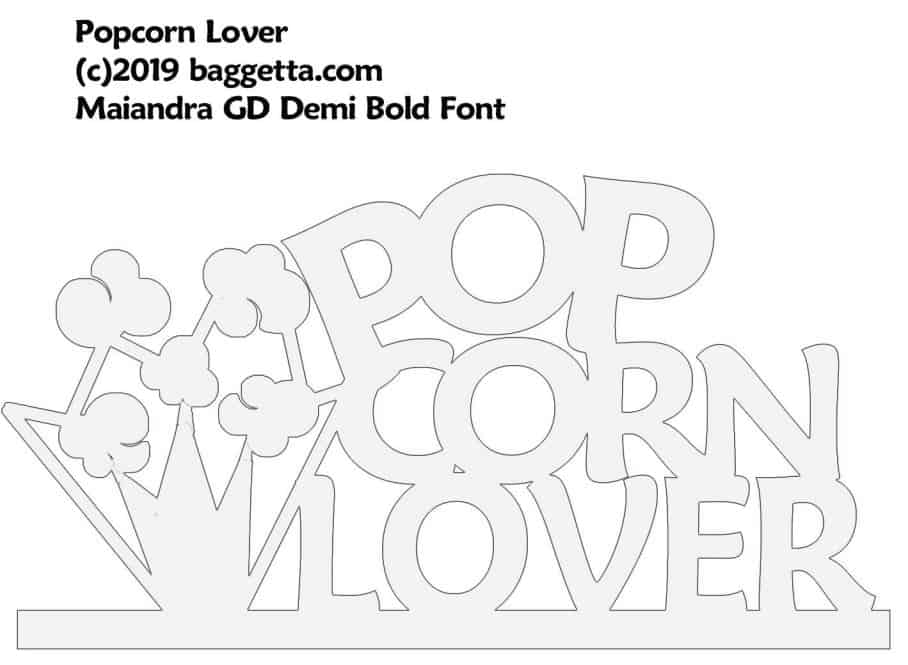 POPCORN LOVER TABLE SIGN PATTERN
