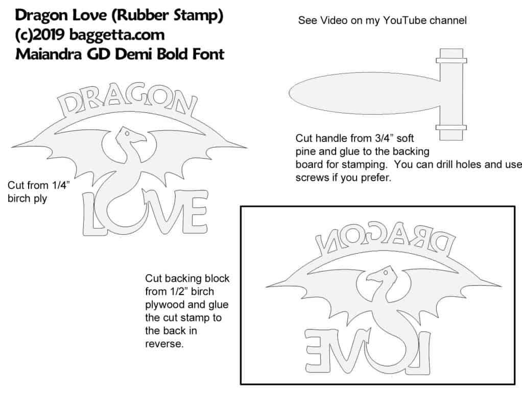 "RUBBER STAMP ""DRAGON LOVE"" PATTERN"